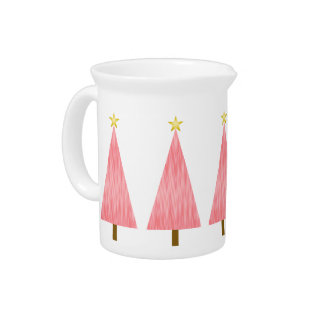 Coral Pink Ombre modern Christmas tree Beverage Pitcher