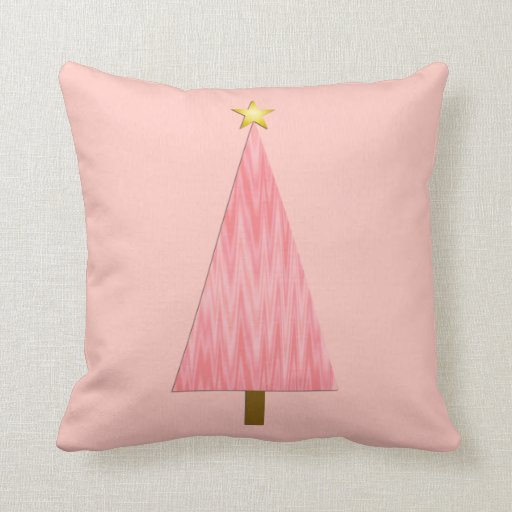 Coral Pink Ombre modern Christmas tree Pillow