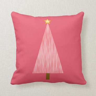 Christmas Themed Coral Pink Ombre modern Christmas tree Throw Pillow