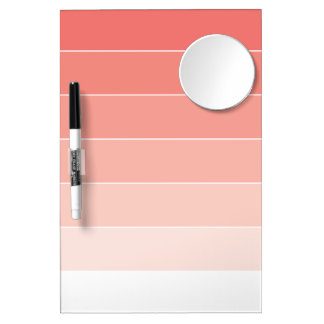Coral Pink Ombré Stripes Dry Erase Board With Mirror