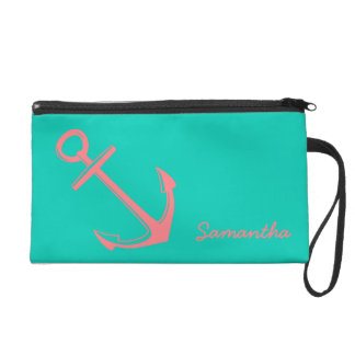 Coral Pink on Island Sea Nautical Anchor Wristlet
