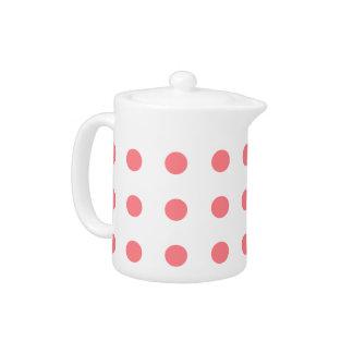 Coral Pink on White Polka Dots Teapot