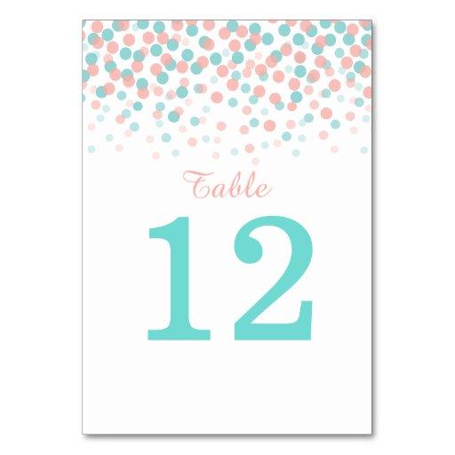 Coral Pink Orange Teal Green Wedding Table Numbers Card