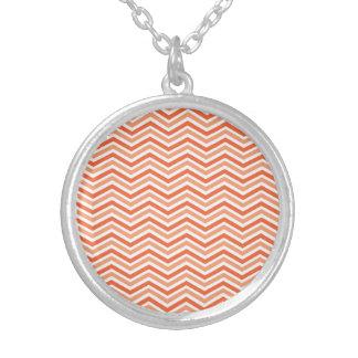 Coral Pink, Orange, White Chevron Stripes Personalized Necklace