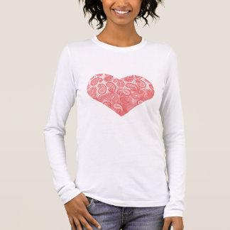Coral Pink Paisley Heart Long Sleeve T-Shirt