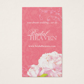 Coral Pink Peony Damask Wedding Business Cards