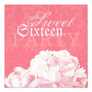 Coral Pink Peony Sweet Sixteen Birthday Invitation