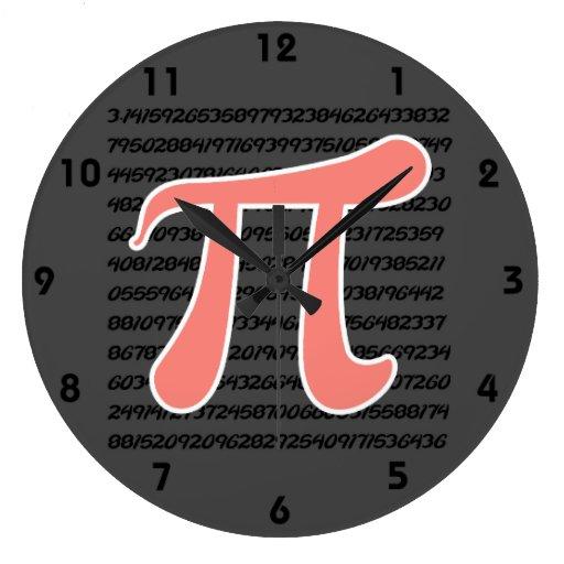 Coral Pink Pi symbol Wall Clocks