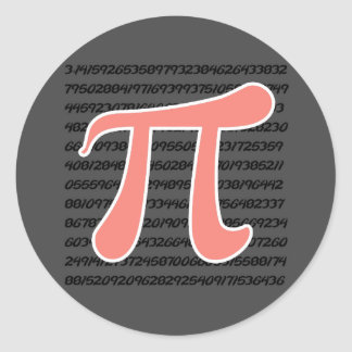 Coral Pink Pi symbol Stickers