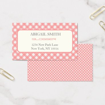 Professional Business Coral Pink Plaid Print Business Card