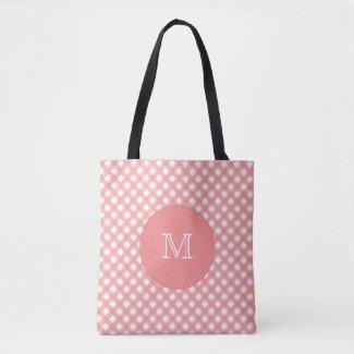 Coral Pink Plaid Print |  Monogram Tote Bag
