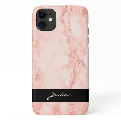 Coral Pink Polished Marble Stone with Name iPhone 11 Case