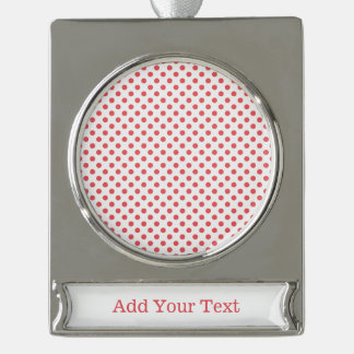 Coral Pink Polka Dots by Shirley Taylor Silver Plated Banner Ornament