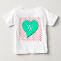 Coral Pink Polka Dots-Monogram by Shirley Taylor Baby T-Shirt