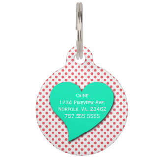 Coral Pink Polka Dots-Monogram by Shirley Taylor Pet ID Tag