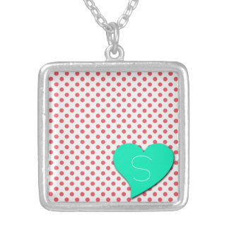 Coral Pink Polka Dots-Monogram by Shirley Taylor Silver Plated Necklace