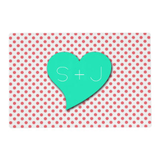Coral Pink Polka Dots-Monogram Laminated Placemat