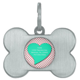 Coral Pink Polka Dots-Monogram Pet Name Tag