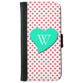 Coral Pink Polka Dots-Monogram iPhone 6 Wallet Case