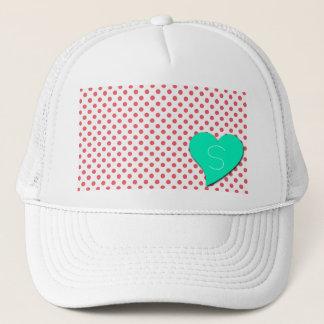 Coral Pink Polka Dots-Monogram Trucker Hat