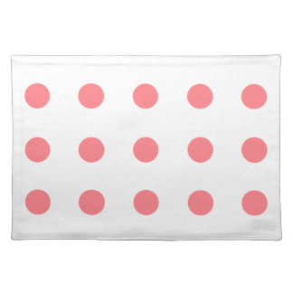 Coral Pink Polka Dots on White Cloth Place Mat