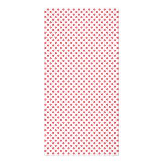 Coral Pink Polka Dots Photo Card