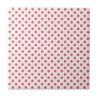 Coral Pink Polka Dots Small Square Tile