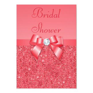 Coral Pink Printed Sequins & Diamond Bridal Shower Card