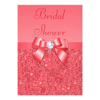 Coral Pink Printed Sequins Diamond Bridal Shower Custom Invitations