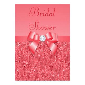 Coral Pink Printed Sequins & Diamond Bridal Shower Custom Invitations