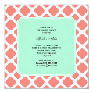 Coral Pink Quatrefoil and Mint Green Bridal Shower Card