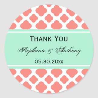 Coral Pink Quatrefoil and Mint Green Thank You Classic Round Sticker