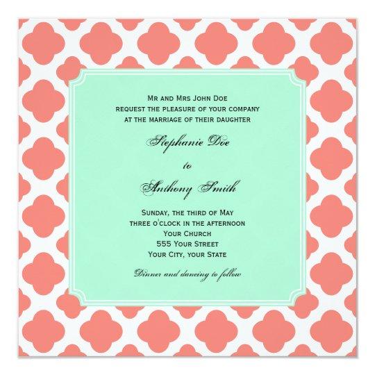 Coral And Mint Wedding Invitations: Gray Coral Wedding Invitation