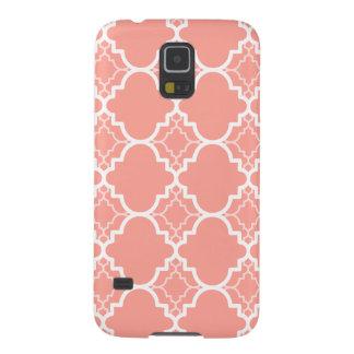 Coral Pink Quatrefoil Geometric Pattern Galaxy S5 Case