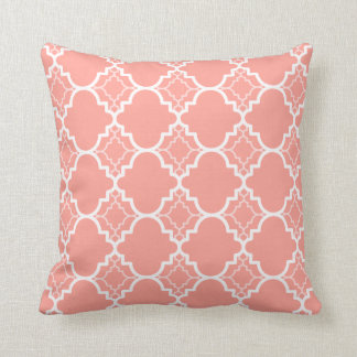 Coral Pink Quatrefoil Geometric Pattern Throw Pillow