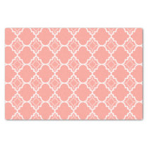 Coral Pink Quatrefoil Geometric Pattern Tissue Paper