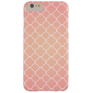 Coral Pink Quatrefoil Pattern Barely There iPhone 6 Plus Case