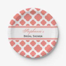 Coral Pink Quatrefoil Pattern Bridal Shower Paper Plate