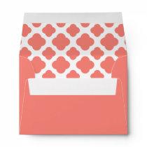 Coral Pink Quatrefoil Pattern Envelope
