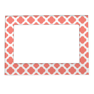 Coral Pink Quatrefoil Pattern Magnetic Frame