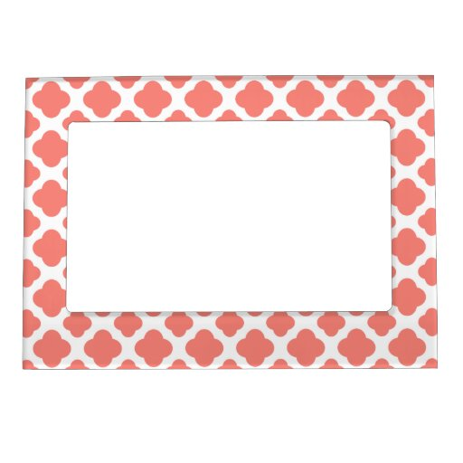 Coral Pink Quatrefoil Pattern Picture Frame Magnets