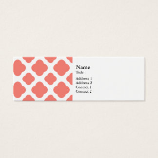 Coral Pink Quatrefoil Pattern Mini Business Card