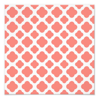 Coral Pink Quatrefoil Pattern Photo Print