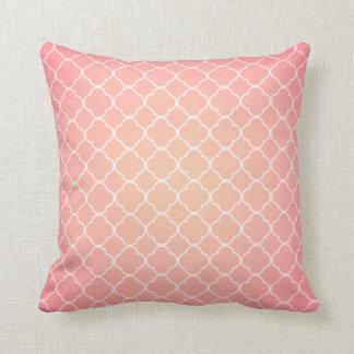 Coral Pink Quatrefoil Pattern Throw Pillows
