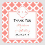 Coral Pink Quatrefoil Pattern Wedding Thank You Sticker