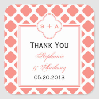 Coral Pink Quatrefoil Pattern Wedding Thank You Square Sticker