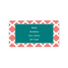 Coral Pink Quatrefoil Pattern with Teal Address Label