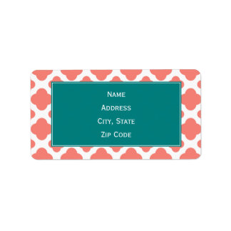 Coral Pink Quatrefoil Pattern with Teal Label