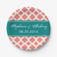 Coral Pink Quatrefoil Pattern with Teal Wedding Paper Plate