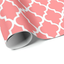 Coral Pink Quatrefoil Tiles Pattern Wrapping Paper
